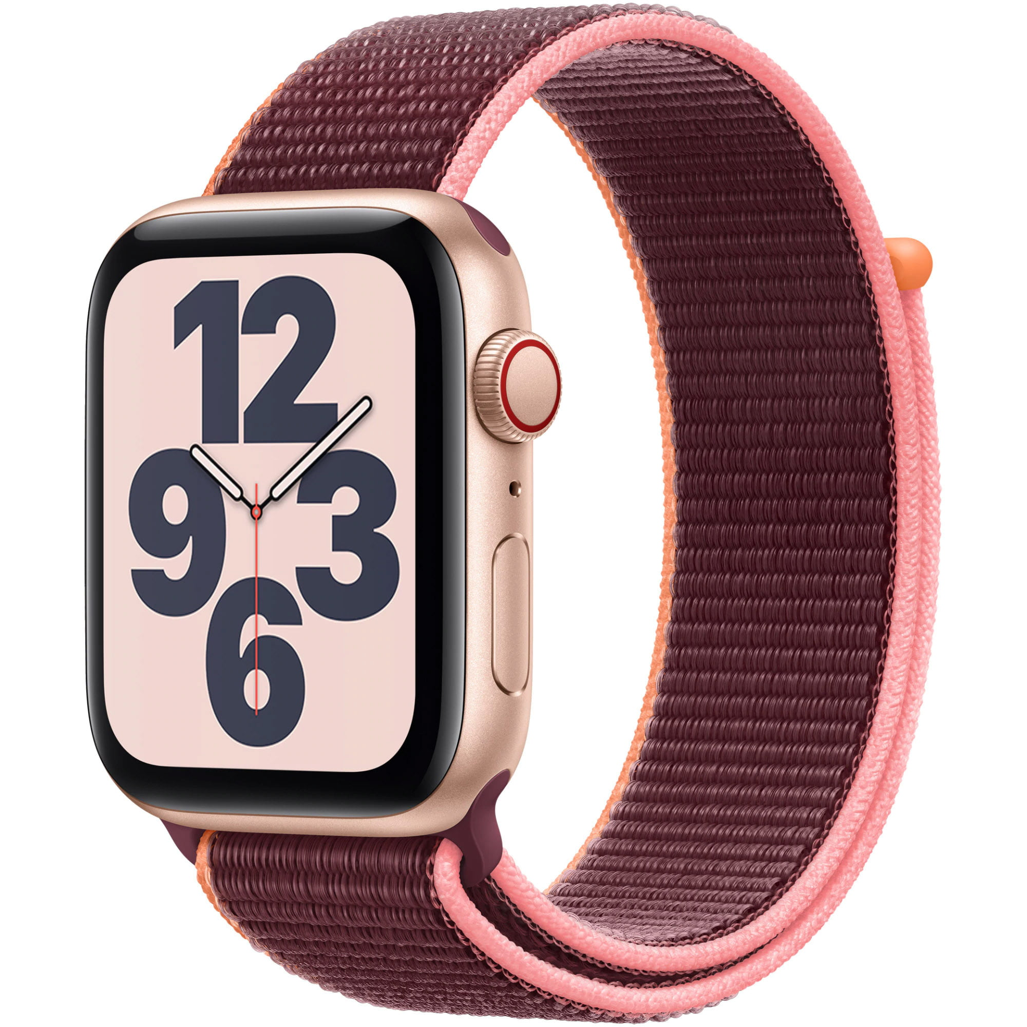 Ceas Smartwatch Apple Watch SE, GPS + Cellular, 44mm Gold Aluminium Case, Plum Sport Loop