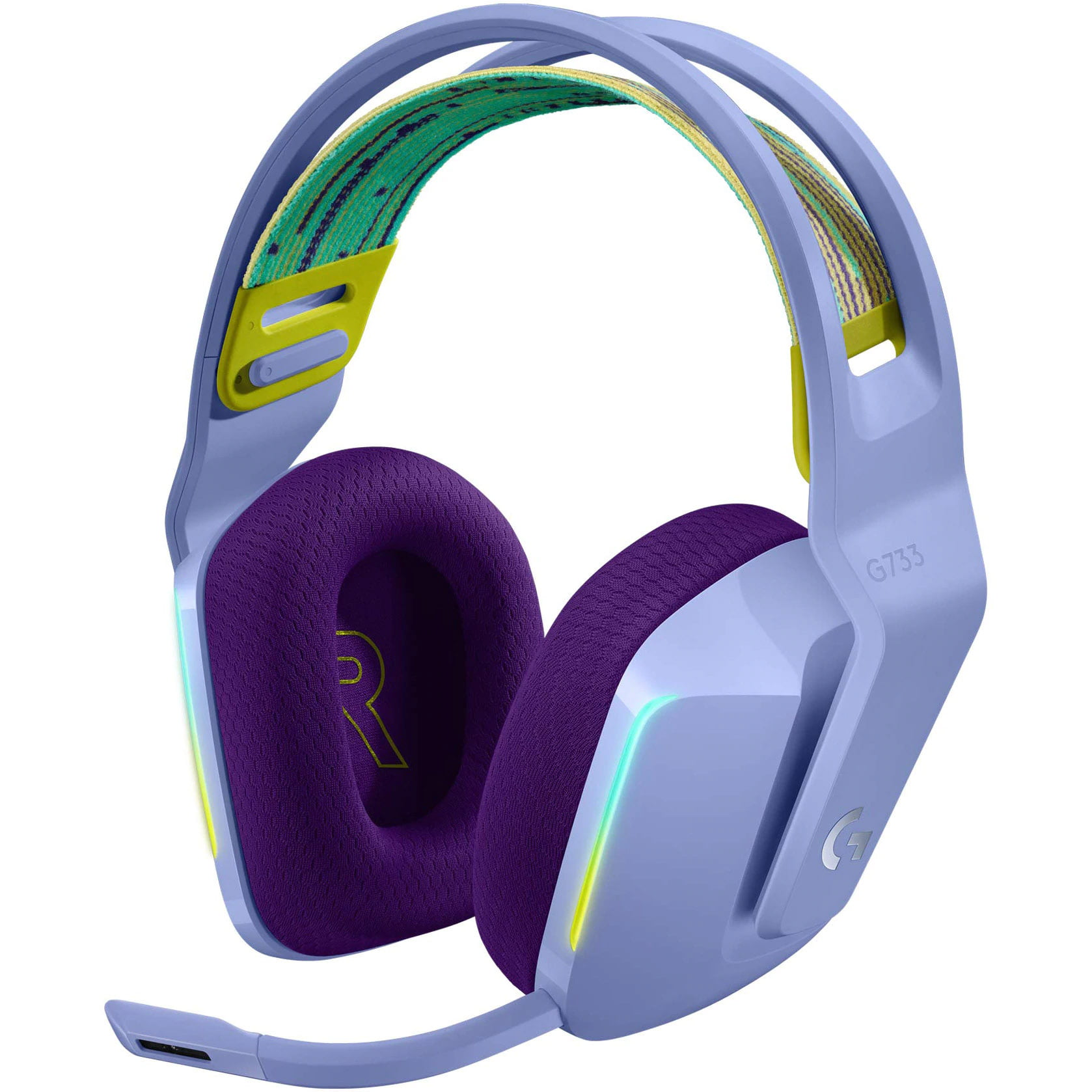 Casti audio Over-Ear Logitech G733, Gaming, Lightsync RGB, Surround Sound 7.1, Lilac
