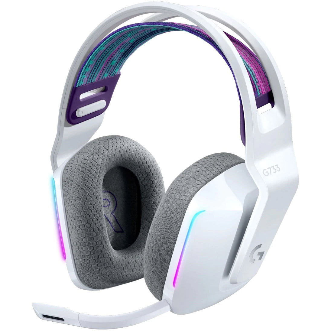 Casti audio Over-Ear Logitech G733, Gaming, Lightsync RGB, Surround Sound 7.1, White