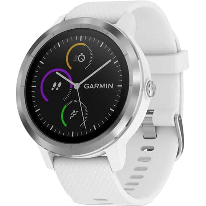 Ceas Smartwatch Garmin Vivoactive 3, 44 mm, HR, GPS, Silver, Silicone White