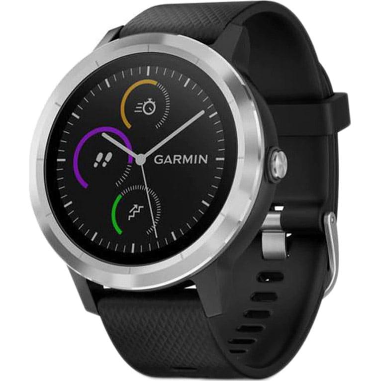 Ceas Smartwatch Garmin Vivoactive 3, 44 mm, HR, GPS, Silver, Silicone Black