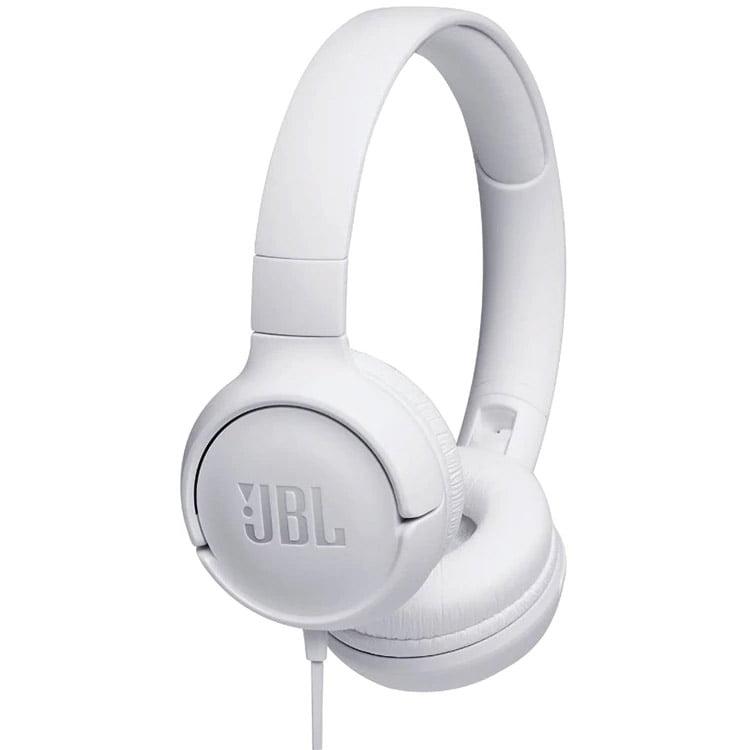Casti audio On-Ear JBL Tune 500, Pure Bass Sound, Hands-free Call, White