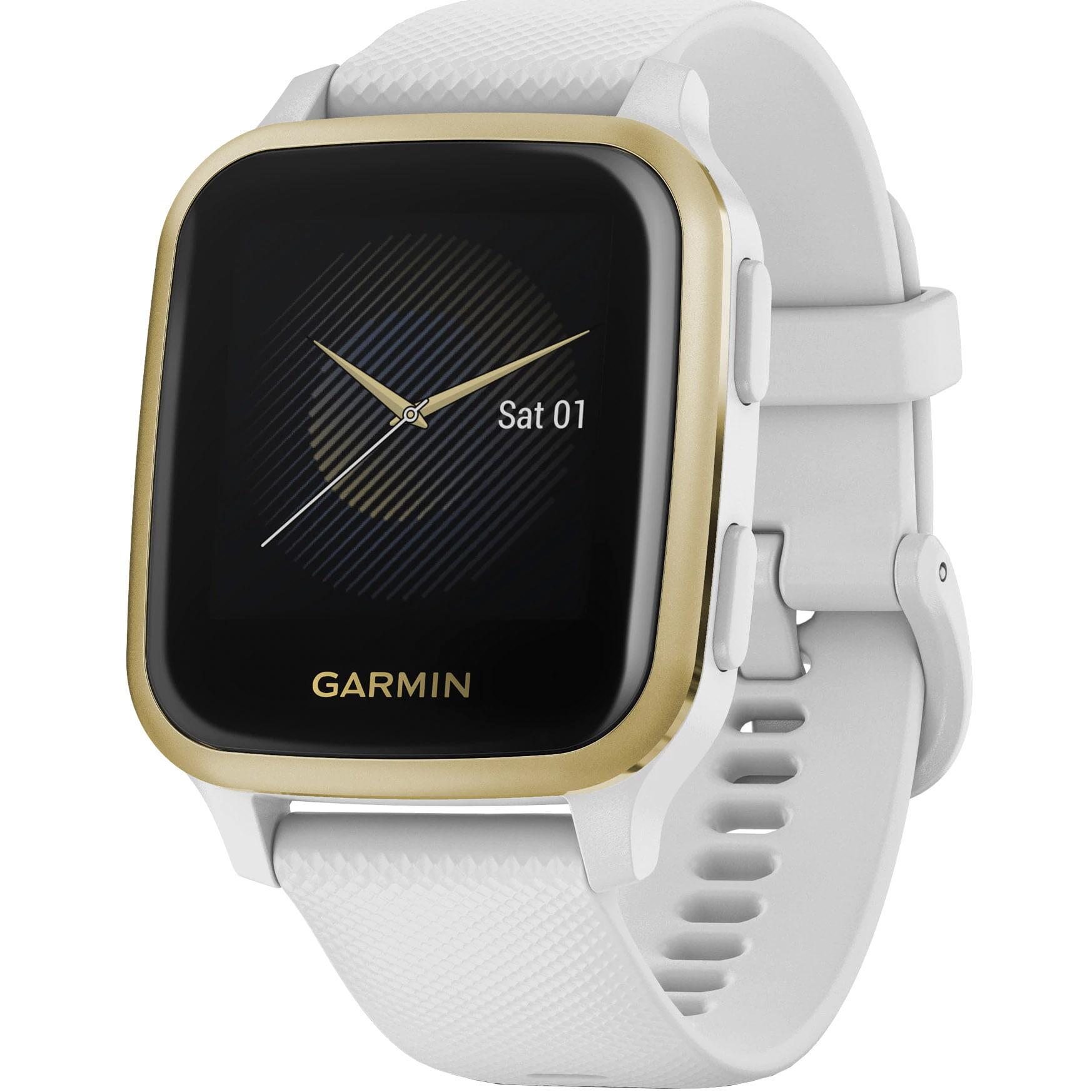 Ceas Smartwatch Garmin Venu SQ, 33 mm, GPS, White/ Light Gold