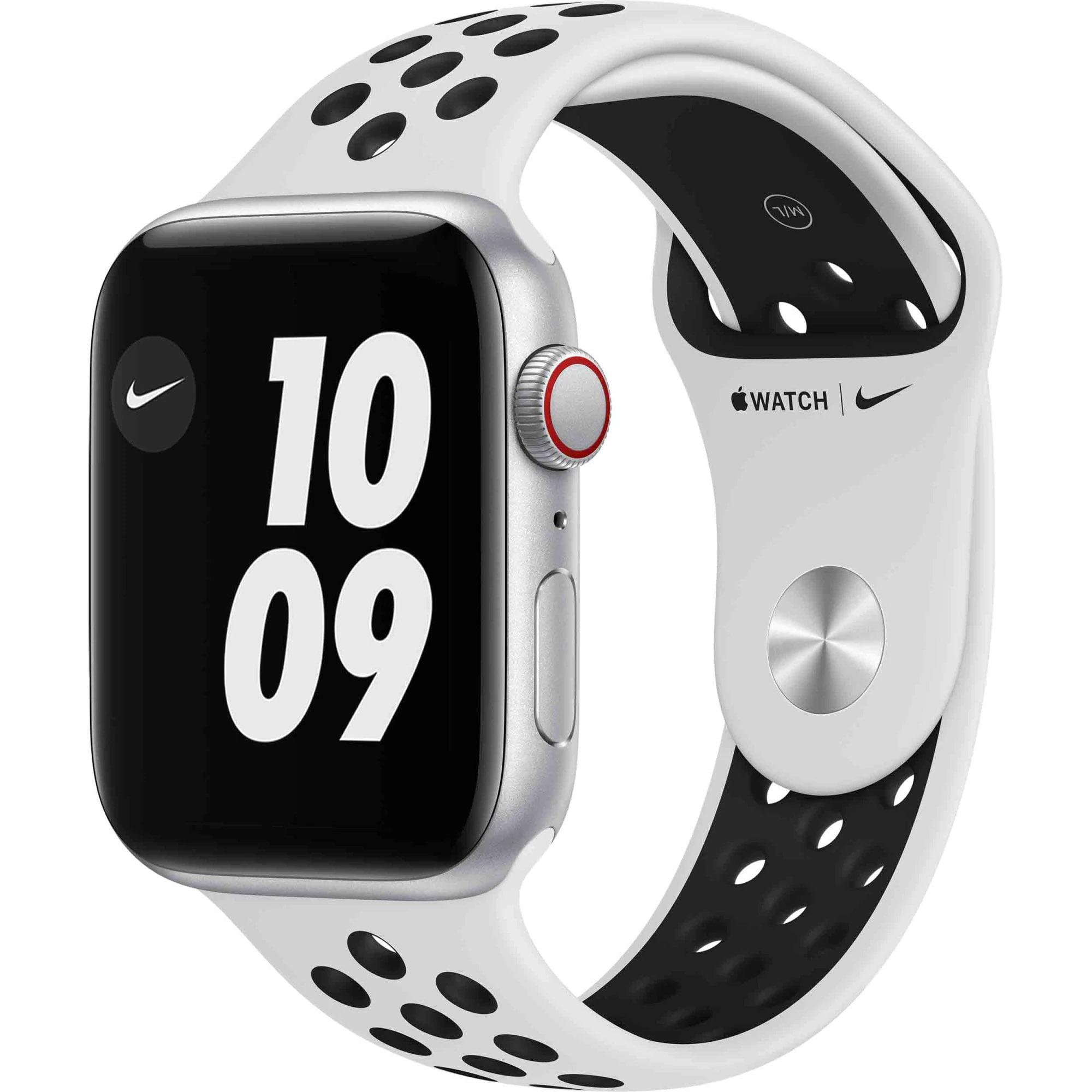 Ceas Smartwatch Apple Watch SE Nike, GPS + Cellular, 44mm Silver Aluminium Case, Pure Platinum/ Black Nike Sport Band