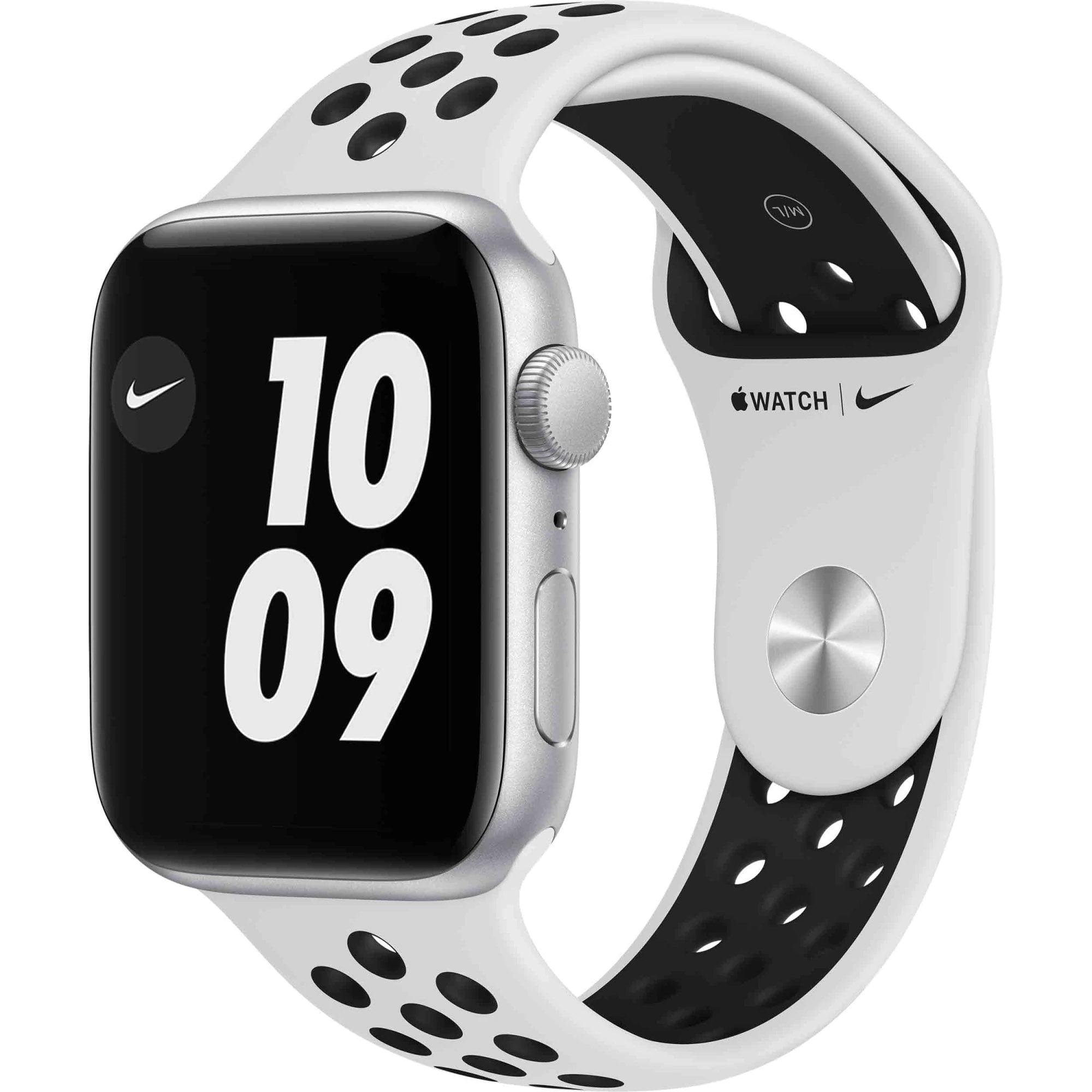 Ceas Smartwatch Apple Watch SE Nike, GPS, 44mm Silver Aluminium Case, Pure Platinum/ Black Nike Sport Band