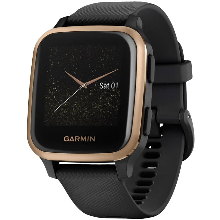 Ceas Smartwatch Garmin Venu SQ Music Edition, 33 mm, GPS, Black/ Rose Gold