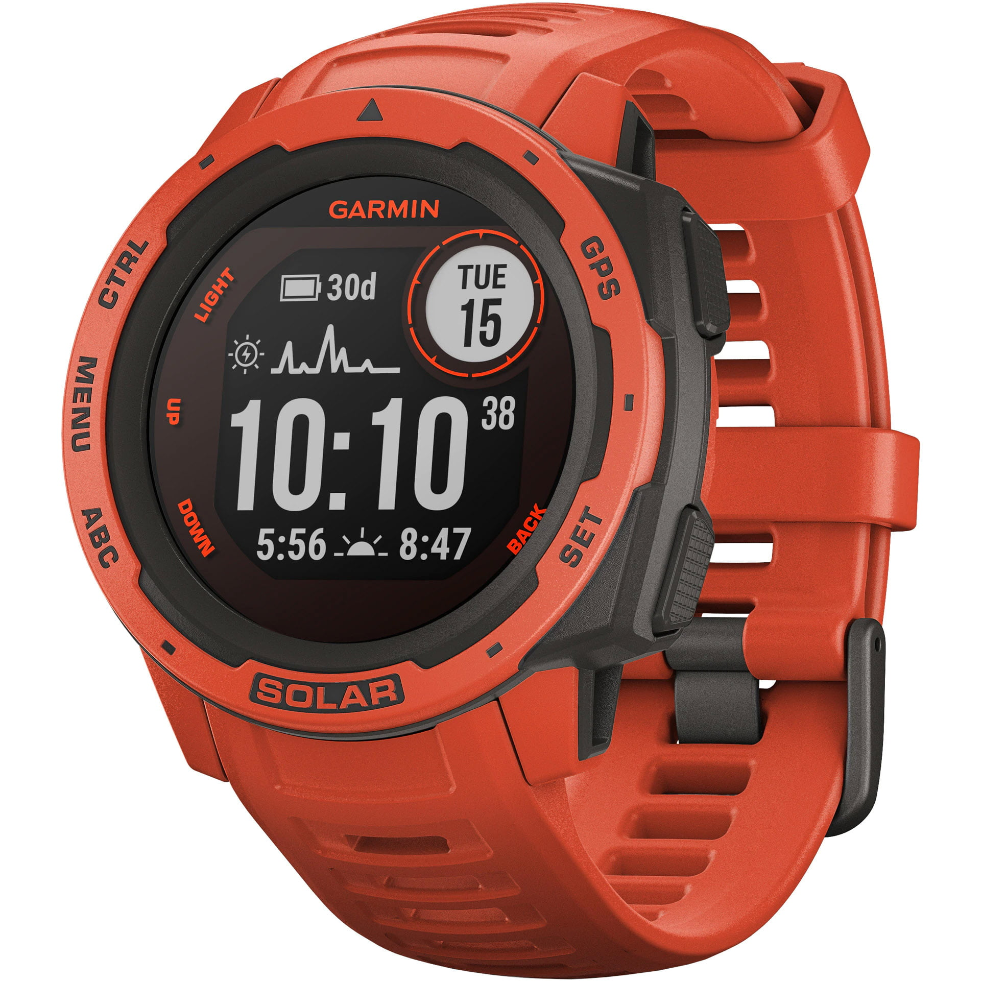 Ceas Smartwatch Garmin Instinct Solar, 45 mm, HR, GPS, Flame Red