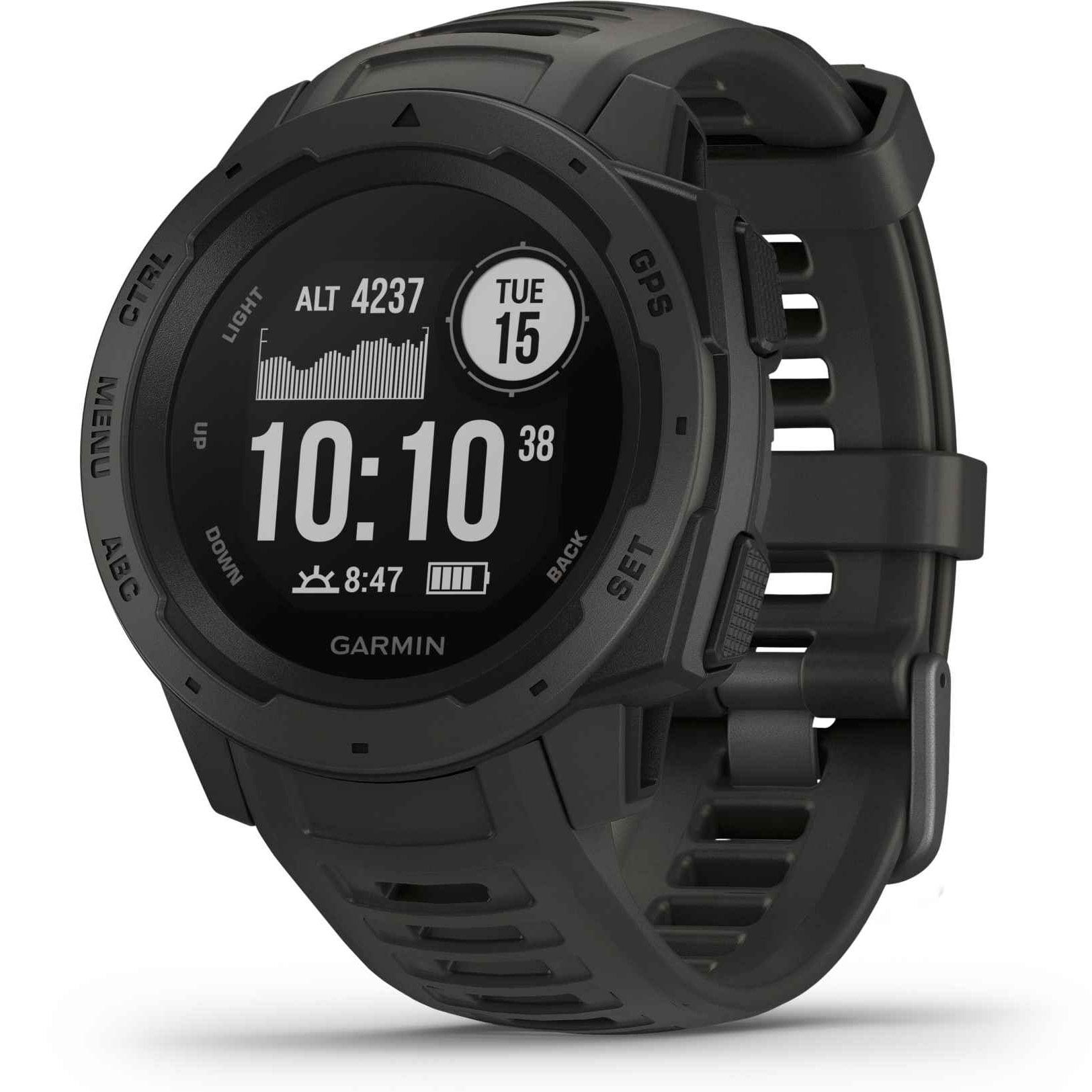 Ceas Smartwatch Garmin Instinct, 45 mm, HR, GPS, Black