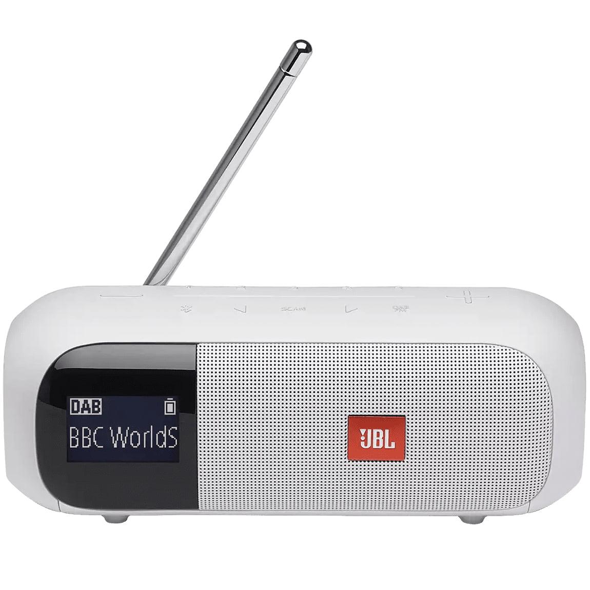 Boxa portabila JBL Tuner 2, Wireless, Bluetooth, DAB/FM, IPX7 Waterproof, White