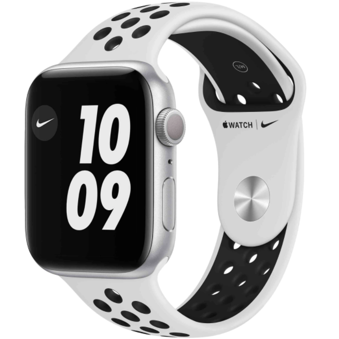 Ceas Smartwatch Apple Watch Nike Series 6, GPS, 40mm Silver Stainless Steel Case, Pure Platinum/Black Nike Sport Band