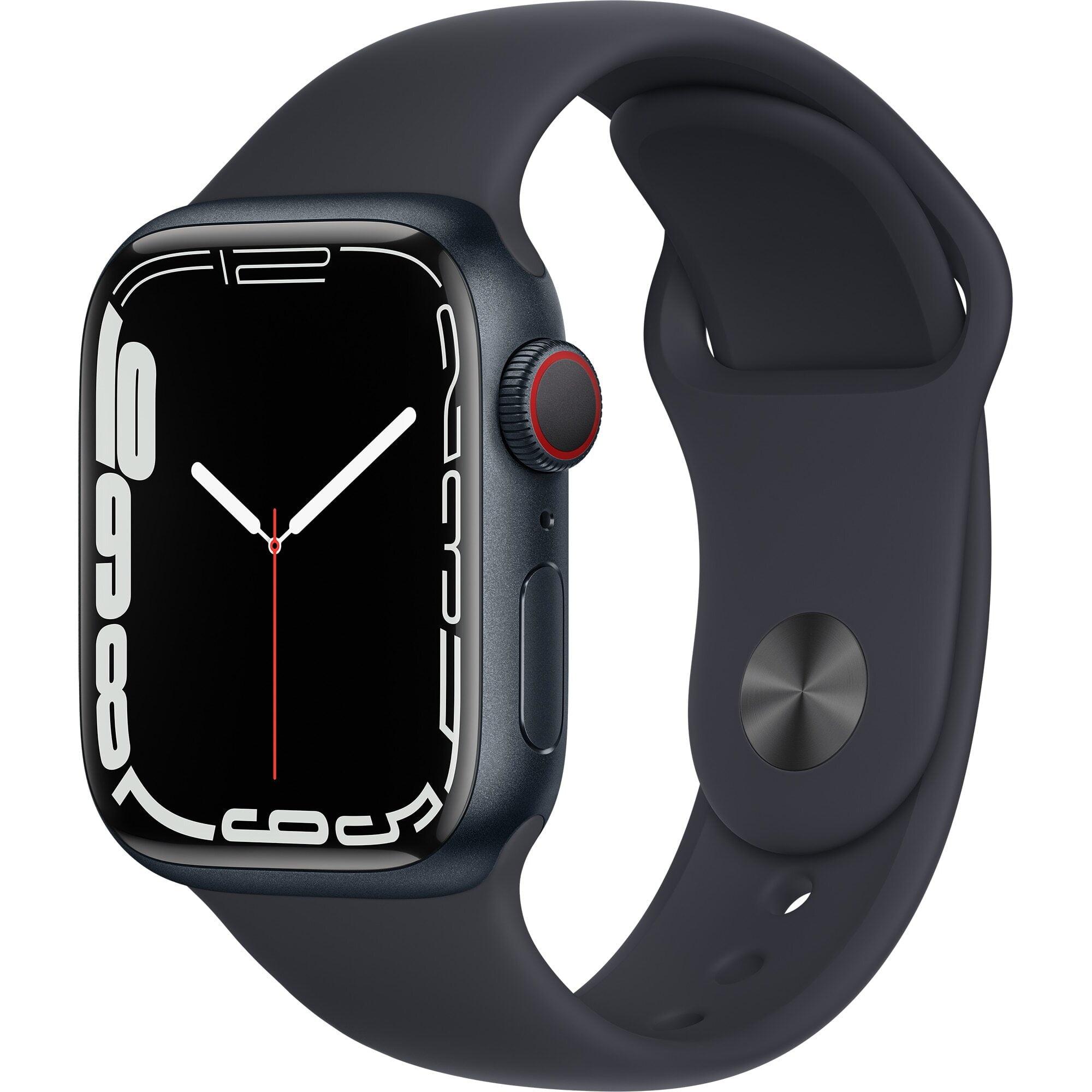 Ceas Smartwatch Apple Watch Series 7, GPS, 41mm Midnight Aluminium Case, Midnight Sport Band