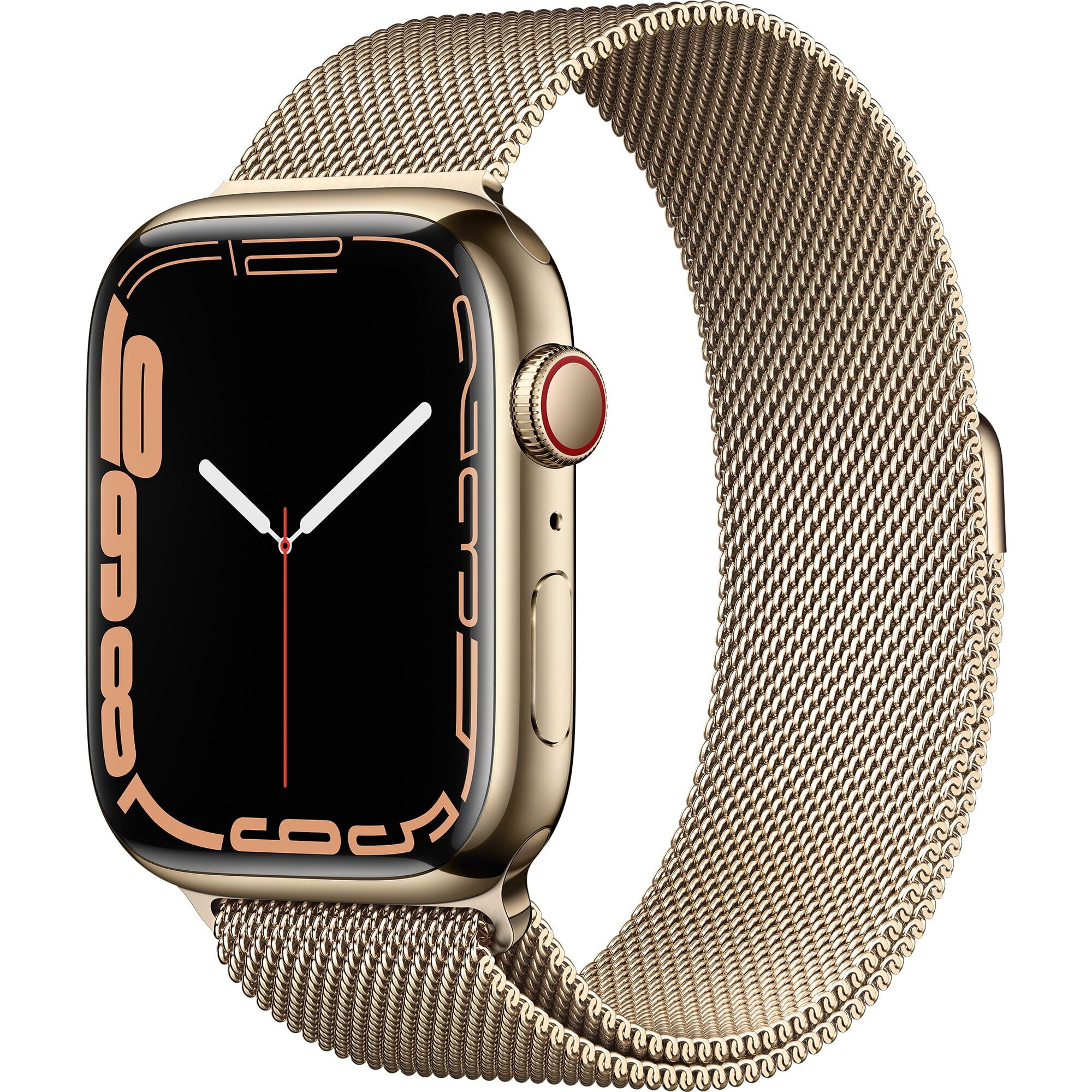 Ceas Smartwatch Apple Watch Series 7, GPS + Cellular, 45mm Gold Stainless Steel Case, Gold Milanese Loop