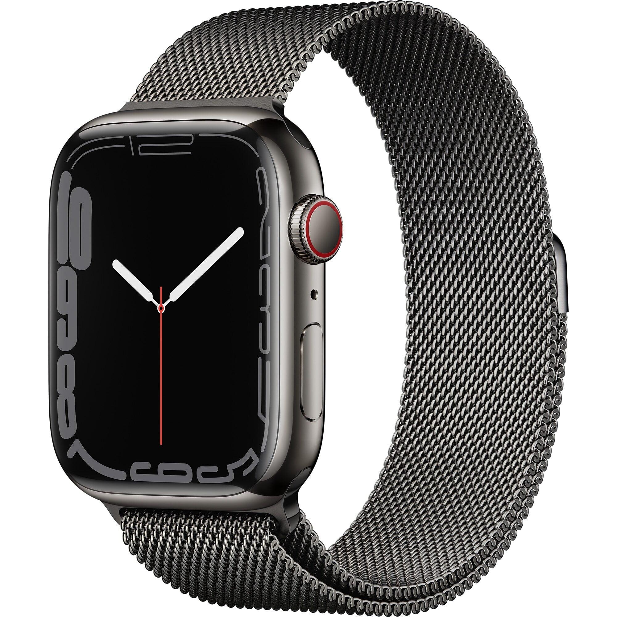 Ceas Smartwatch Apple Watch Series 7, GPS + Cellular, 45mm Graphite Stainless Steel Case, Graphite Milanese Loop