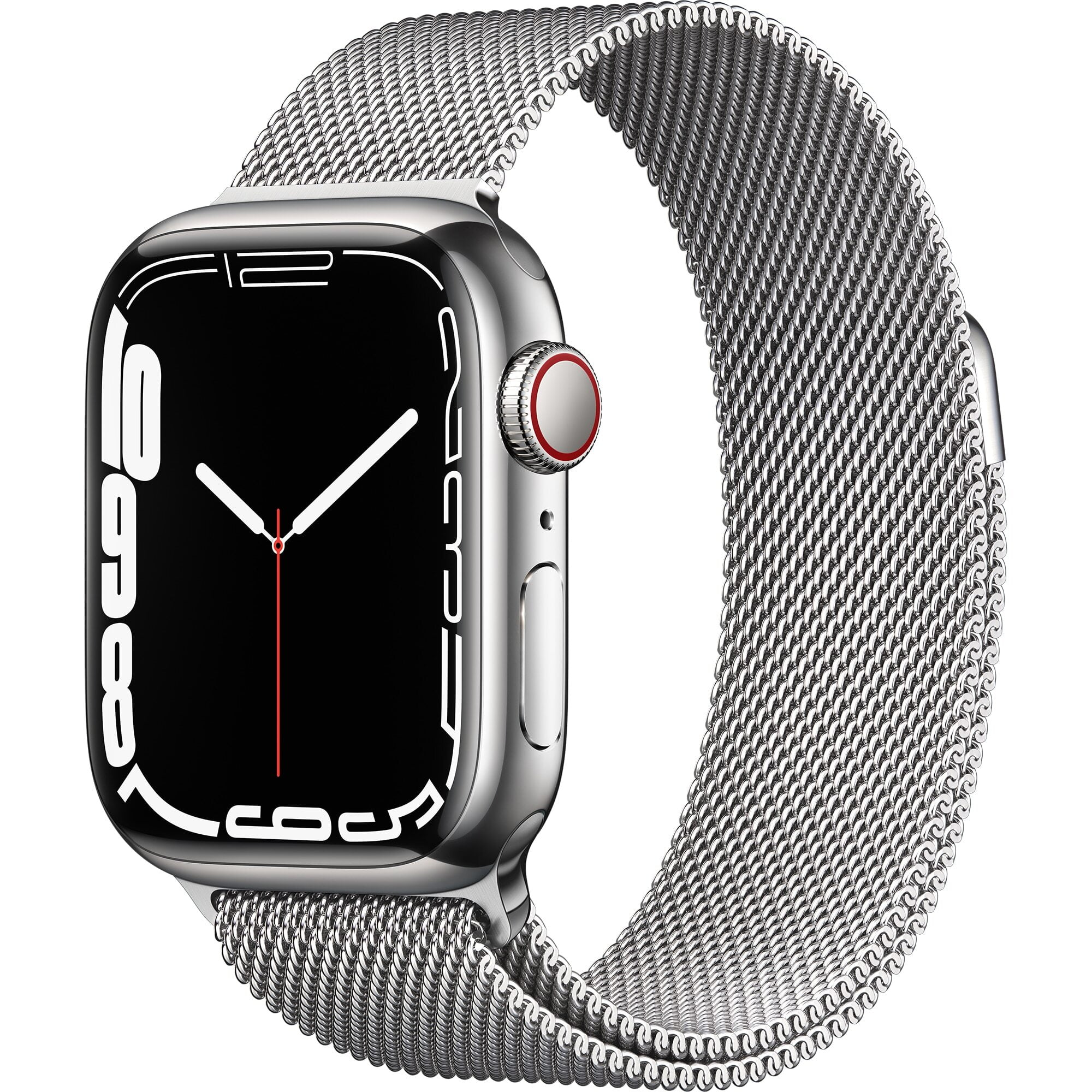 Ceas Smartwatch Apple Watch Series 7, GPS + Cellular, 41mm Silver Stainless Steel Case, Silver Milanese Loop