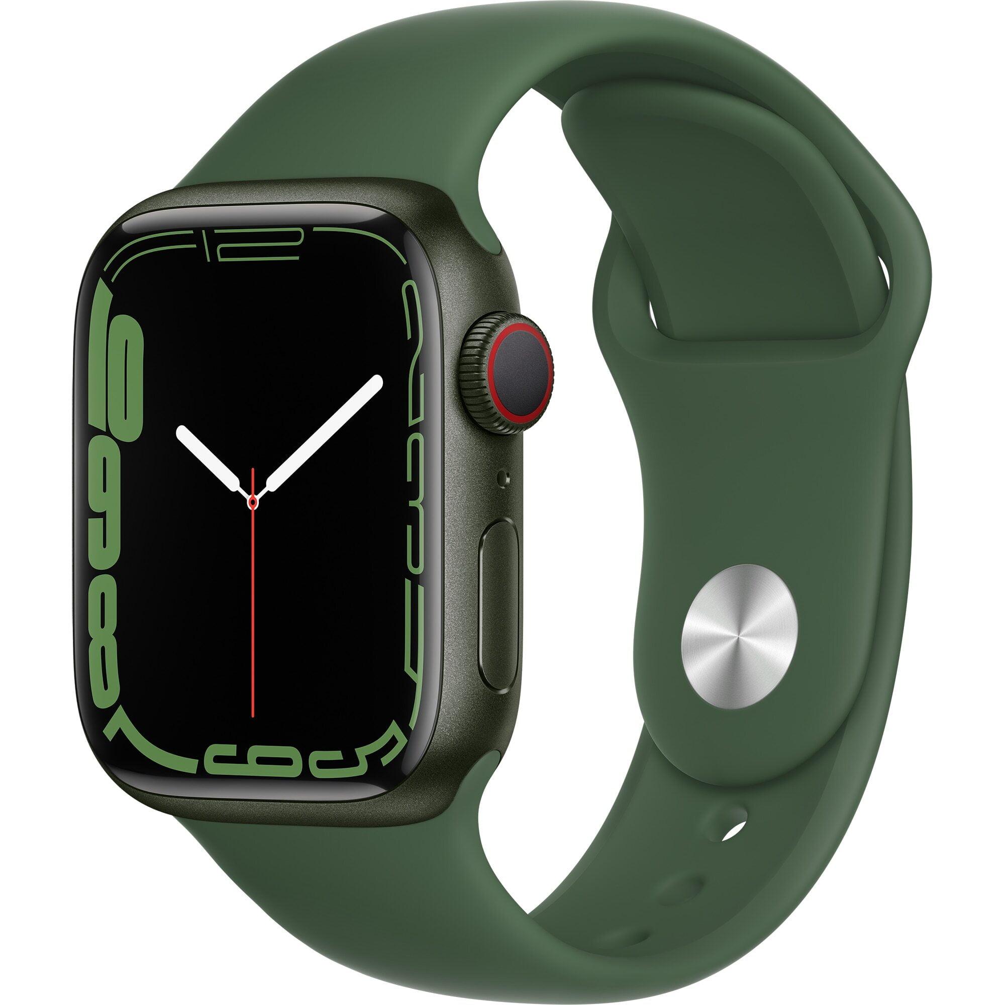 Ceas Smartwatch Apple Watch Series 7, GPS, 41mm Green Aluminium Case, Clover Sport Band