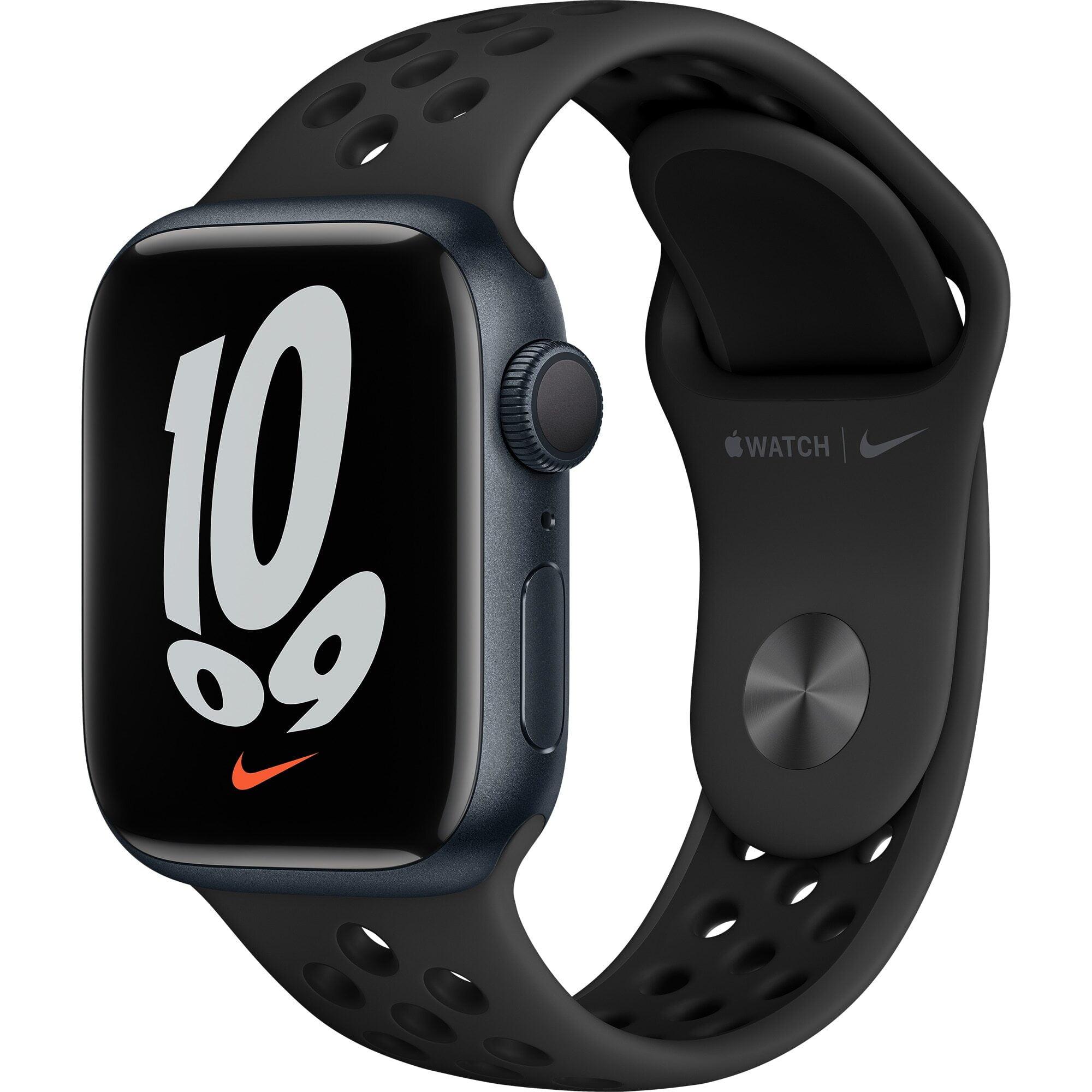 Ceas Smartwatch Apple Watch Nike Series 7, GPS + Cellular, 41mm Midnight Aluminium Case, Anthracite/Black Nike Sport Band