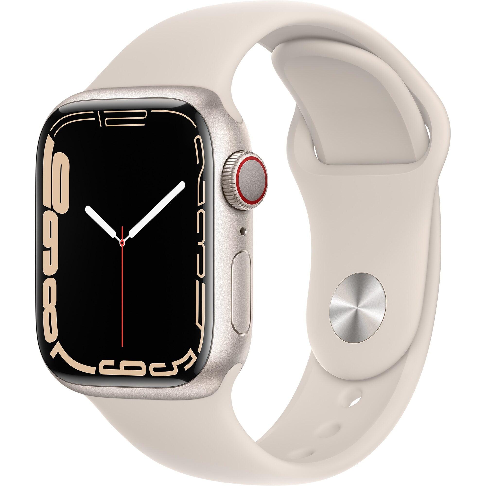 Ceas Smartwatch Apple Watch Series 7, GPS, 41mm Starlight Aluminium Case, Starlight Sport Band
