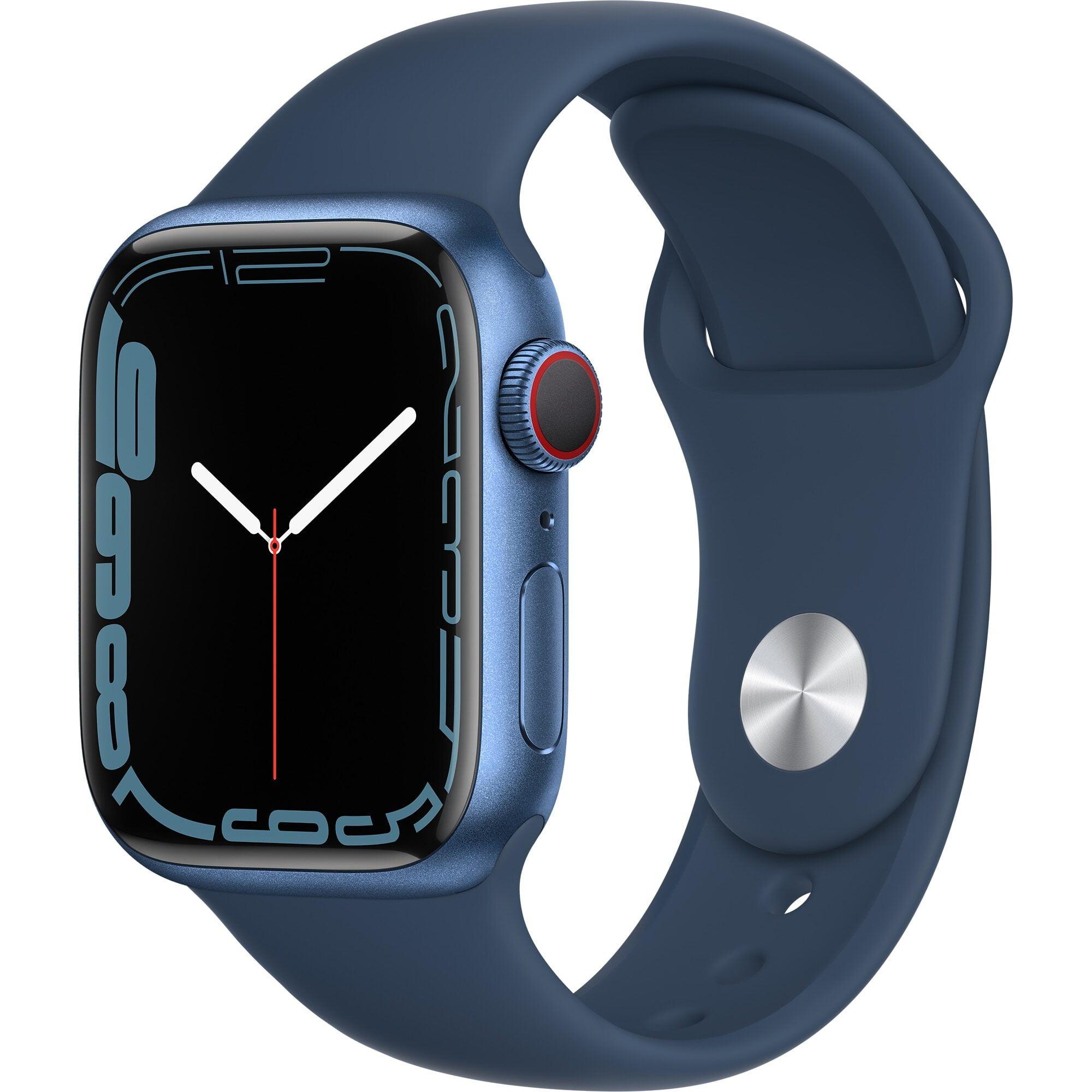 Ceas Smartwatch Apple Watch Series 7, GPS + Cellular, 41mm Blue Aluminium Case, Abyss Blue Sport Band