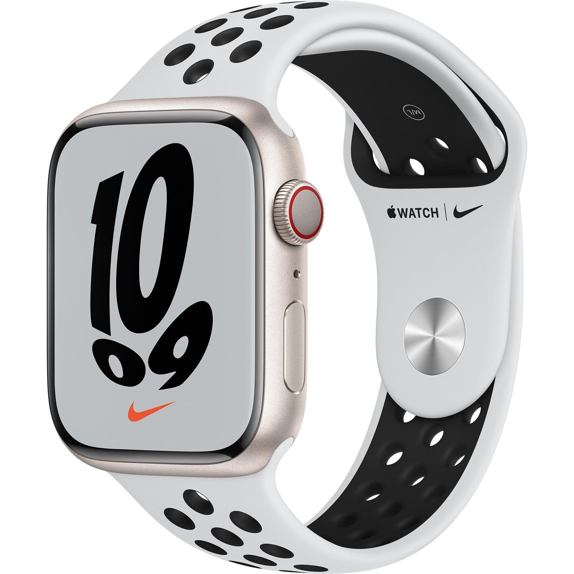 Ceas Smartwatch Apple Watch Nike Series 7, GPS + Cellular, 45mm Starlight Aluminium Case, Pure Platinum/Black Nike Sport Band