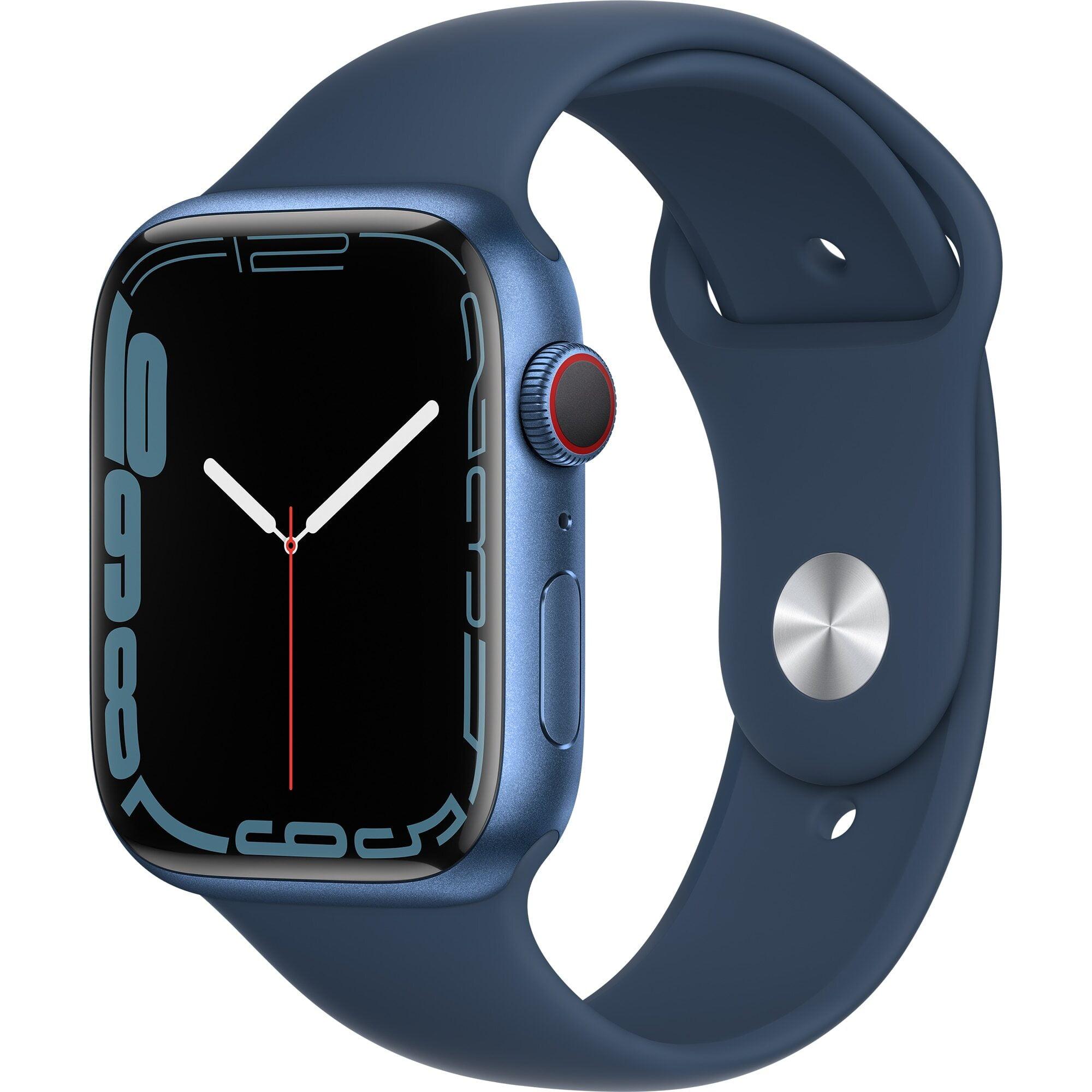 Ceas Smartwatch Apple Watch Series 7, GPS, 45mm Blue Aluminium Case, Abyss Blue Sport Band