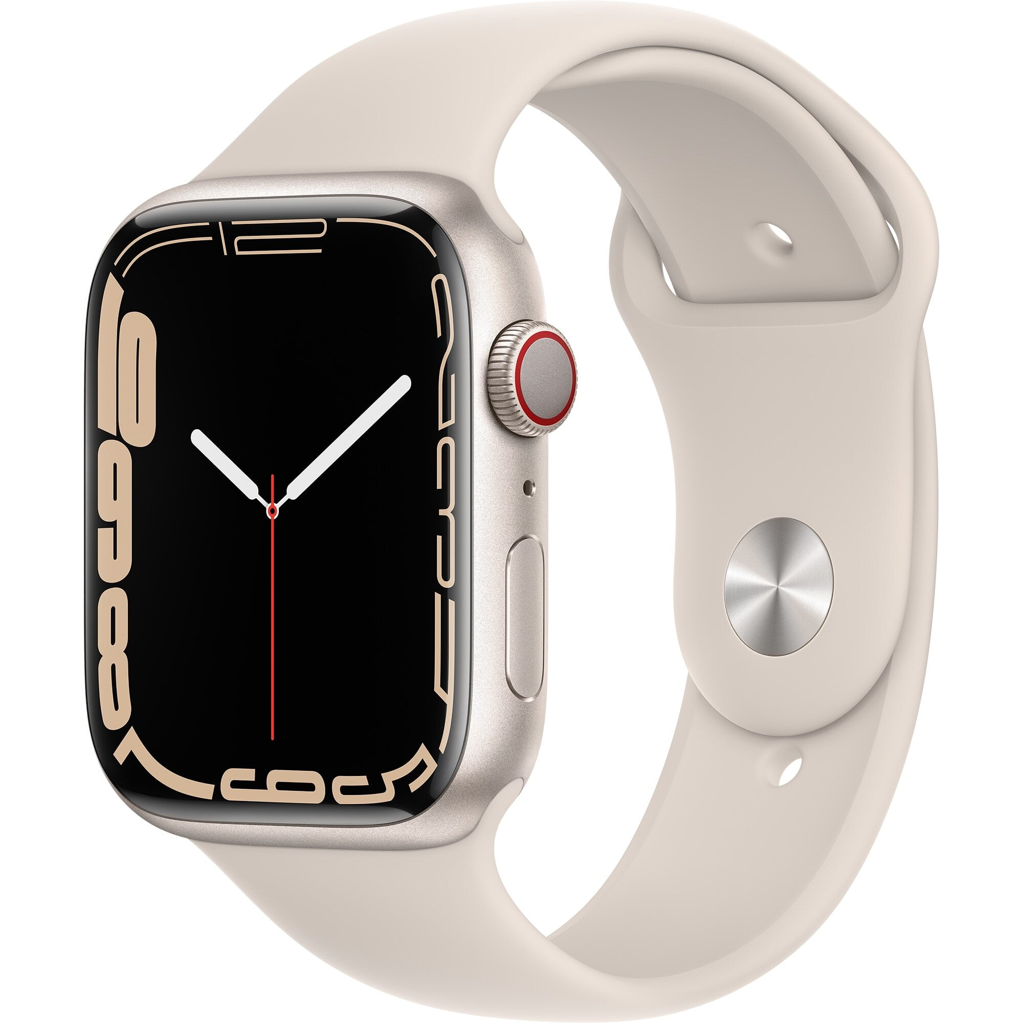 Ceas Smartwatch Apple Watch Series 7, GPS + Cellular, 45mm Starlight Aluminium Case, Starlight Sport Band