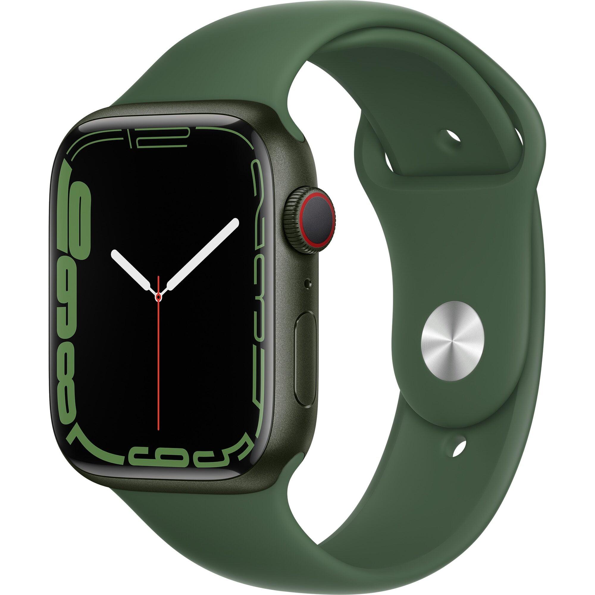Ceas Smartwatch Apple Watch Series 7, GPS + Cellular, 45mm Green Aluminium Case, Clover Sport Band
